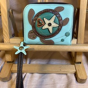 NWOT Chala wristlet wallet, turtle appliqué & star